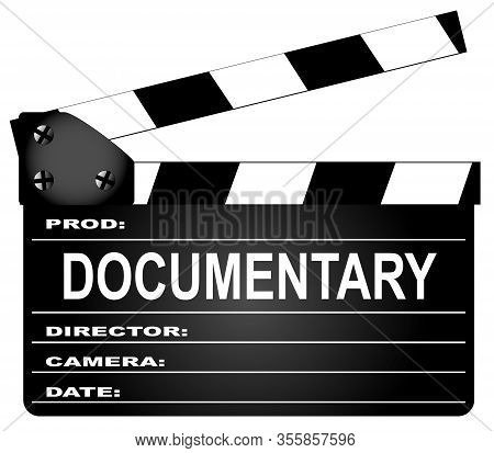 A Typical Movie Clapperboard With The Legend Documentary Isolated On White.