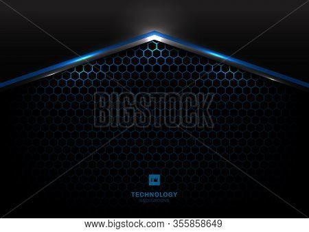 Abstract Technology Futuristic Concept Black And Gray Metallic Overlap Blue Light Hexagon Mesh Desig