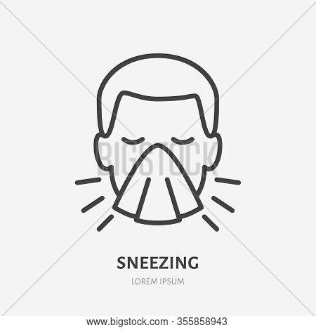 Sneezing Man Line Icon, Vector Pictogram Of Flu Or Cold Symptom. Man Covering Cough With Napkin Illu