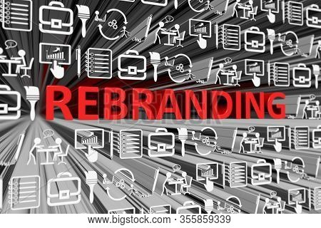 Rebranding Concept Blurred Background 3d Render Illustration