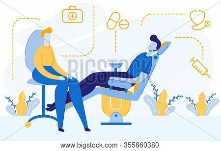 Therapist Visit, Appointment Vector Illustration. Medical Help, Healthcare Service Concept With Line