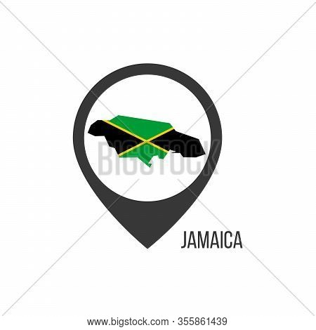 Map Pointers With Contry Jamaica. Jamaica Flag. Stock Vector Illustration Isolated On White Backgrou