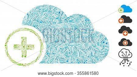 Line Mosaic Based On Add Cloud Icon. Mosaic Vector Add Cloud Is Created With Random Line Spots. Bonu