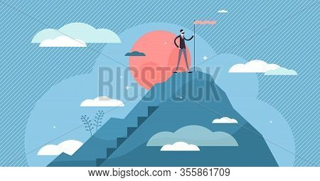 Success Business Vision Concept, Flat Tiny Businessman Person Vector Illustration. Company Growth Mi