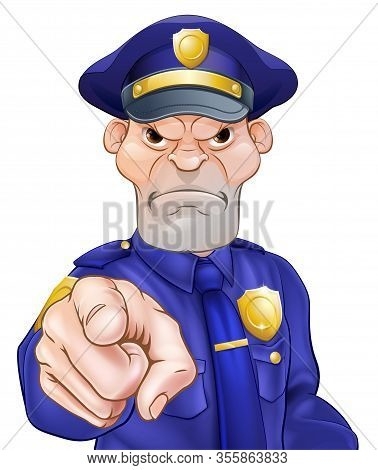 Angry Cartoon Police Officer Policeman Pointing Image
