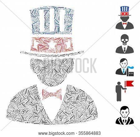 Hatch Mosaic Based On Capitalist Icon. Mosaic Vector Capitalist Is Created With Randomized Line Spot