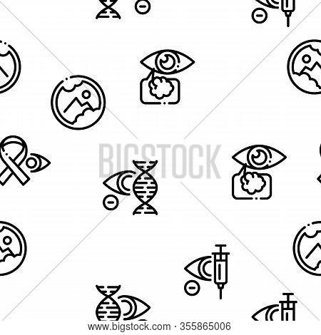Glaucoma Ophthalmology Seamless Pattern Vector Thin Line. Illustrations