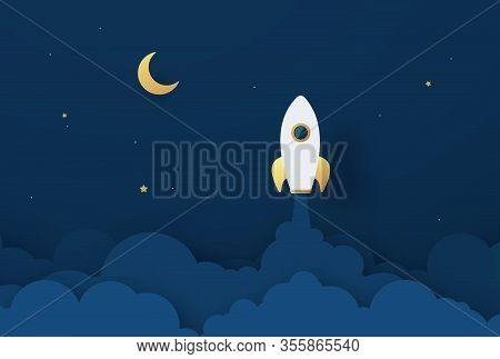 Rocket Launch To The Moon. Cute Space Background With Stars, Moon, Rocket, Clouds, Smoke. Night Sky