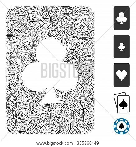 Line Mosaic Based On Clubs Gambling Card Icon. Mosaic Vector Clubs Gambling Card Is Designed With Sc