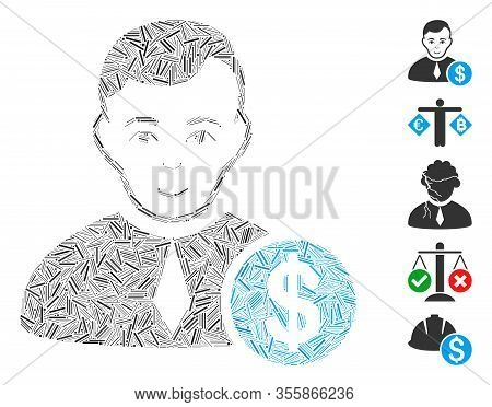 Dash Mosaic Based On Commercial Lawyer Icon. Mosaic Vector Commercial Lawyer Is Composed With Scatte