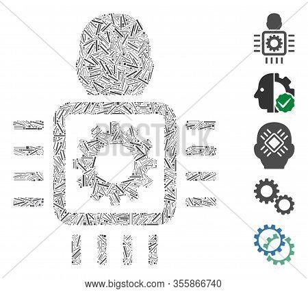 Hatch Mosaic Based On Cyborg Processor Icon. Mosaic Vector Cyborg Processor Is Designed With Random