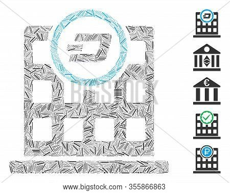 Dash Mosaic Based On Dash Corporation Building Icon. Mosaic Vector Dash Corporation Building Is Crea