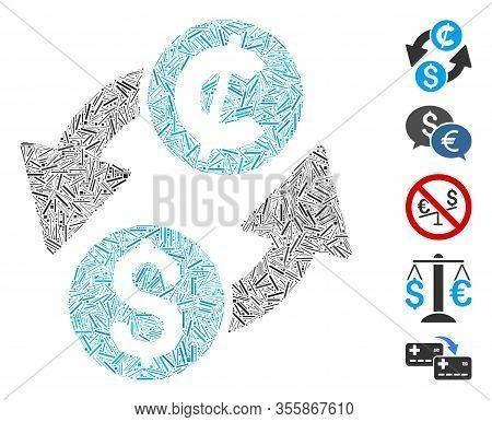 Dash Mosaic Based On Dollar Cent Exchange Icon. Mosaic Vector Dollar Cent Exchange Is Designed With