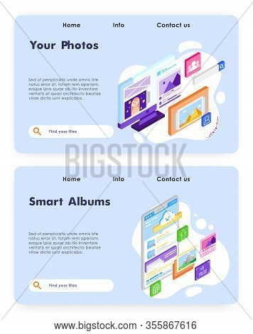 Smart Photo Album Online. Upload Photos To Cloud Storage. Isometric Picture Gallery. Vector Web Site