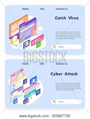 Virus Attack And Cyber Security. Fraud And Ransom Malware. Cloud Storage Attack And Hack. Computer T