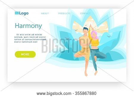 Man And Woman In Tree Yoga Pose. Harmony, Meditation And Mind Enlightenment Concept. Wellness And He