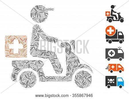 Line Collage Based On Drugs Motorbike Delivery Icon. Mosaic Vector Drugs Motorbike Delivery Is Desig