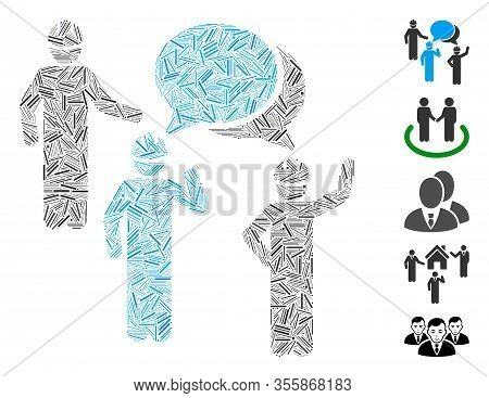 Line Mosaic Based On Engineer Persons Forum Icon. Mosaic Vector Engineer Persons Forum Is Composed W