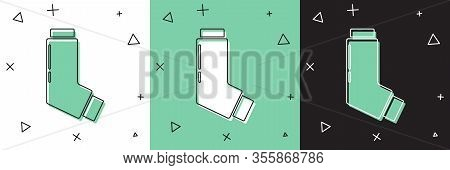 Set Inhaler Icon Isolated On White And Green, Black Background. Breather For Cough Relief, Inhalatio