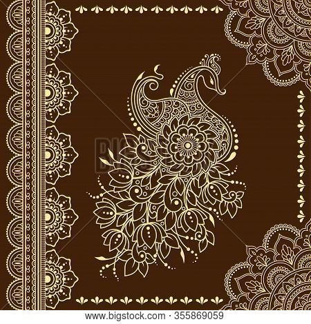 Stylized With Henna Tattoo Decorative Pattern For Decorating Covers Book, Notebook, Casket, Postcard