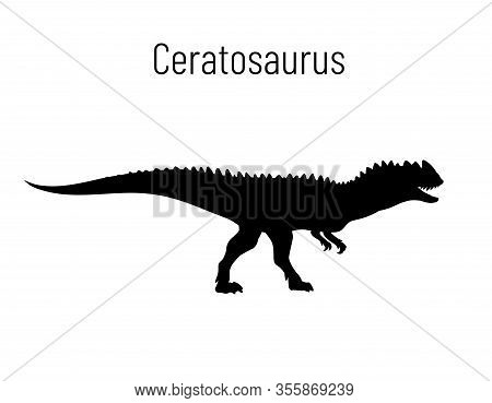 Ceratosaurus. Theropoda Dinosaur. Monochrome Vector Illustration Of Silhouette Of Prehistoric Creatu
