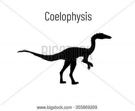 Coelophysiss. Theropoda Dinosaur. Monochrome Vector Illustration Of Silhouette Of Prehistoric Creatu