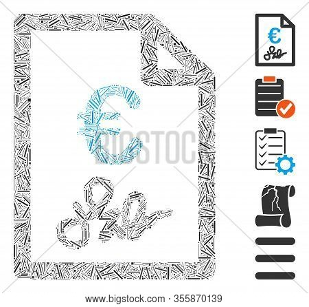 Dash Mosaic Based On Euro Invoice Icon. Mosaic Vector Euro Invoice Is Composed With Scattered Dash D