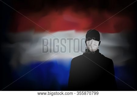 Covid-19 Coronavirus Epidemic In Netherlands. Silhouette Of Man In Medical Mask On Abstract Flag Net