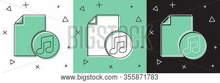Set Music Book With Note Icon Isolated On White And Green, Black Background. Music Sheet With Note S