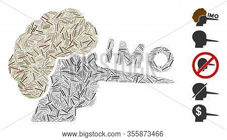 Hatch Mosaic Based On Imo Liar Icon. Mosaic Vector Imo Liar Is Formed With Randomized Hatch Dots. Bo