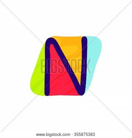N Letter Logo In Kids Paper Applique Style. Perfect For Cute Identity, Funny Craft Package, Holidays