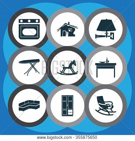 House Icons Set With Rocking Horse, Old Hut, Oven And Other Settee Elements. Isolated Vector Illustr