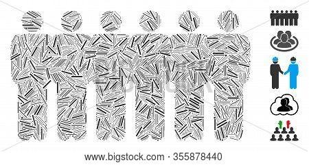 Hatch Mosaic Based On People Demographics Icon. Mosaic Vector People Demographics Is Formed With Ran