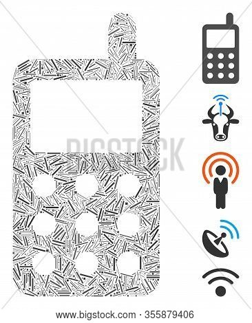 Line Mosaic Based On Portable Radio Transmitter Icon. Mosaic Vector Portable Radio Transmitter Is Co