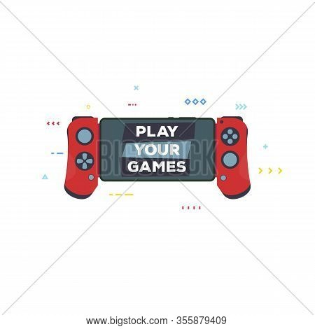 Front View Of Red Gamepad For Modern Phone. Gaming On Phone Banner Or Print. Flat Style Vector Illus