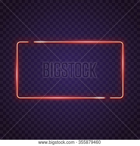 Neon Lamp Square Sign. Glowing Neon Sign Of Big Sign Or Banner. Template For Glowing Neon Banner On