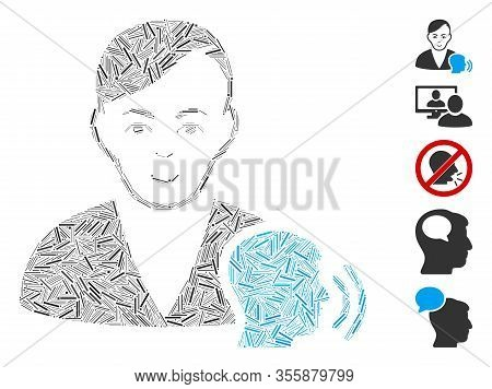 Hatch Mosaic Based On Psychoanalysis Talking Icon. Mosaic Vector Psychoanalysis Talking Is Composed