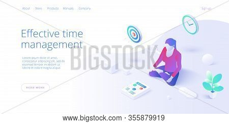 Effective Time Management In Flat Vector Illustration. Woman Working And Task Prioritizing. Organiza