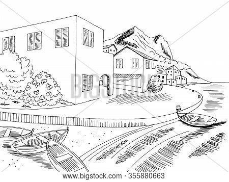 Town Sea Graphic Black White Bay Landscape Sketch Illustration Vector