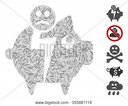 Hatch Mosaic Based On Sad Bankruptcy Piggy Bank Icon. Mosaic Vector Sad Bankruptcy Piggy Bank Is For