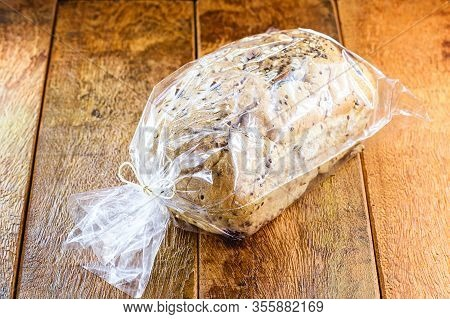 Homemade Brazil Nut Bread Packed In Plastic Bag. Small Business Owner Product For Export Market.
