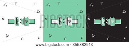 Set Safety Belt Icon Isolated On White And Green, Black Background. Seat Belt. Vector Illustration