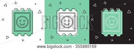 Set Lsd Acid Mark Icon Isolated On White And Green, Black Background. Acid Narcotic. Postmark. Posta