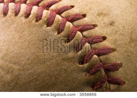 Extreme Closeup Of A Baseball