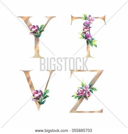 Floral Letters Set With Hand Painted Pink Flowers And Leaves. Y, T, V, Z Elegant Alphabet Isolated O