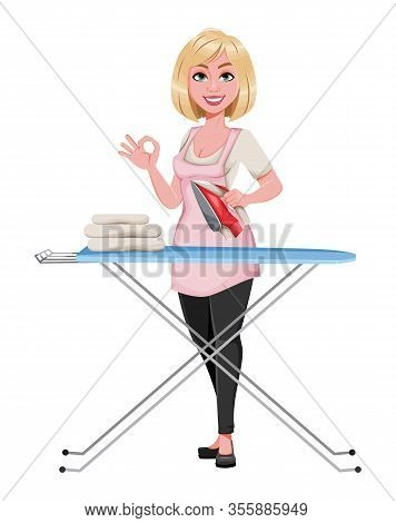 Housewife Concept, Young Pretty Stylish Woman Ironing Clothes. Beautiful Lady Cartoon Character. Sto