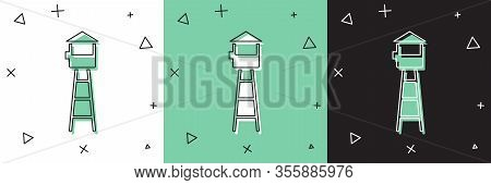 Set Watch Tower Icon Isolated On White And Green, Black Background. Prison Tower, Checkpoint, Protec