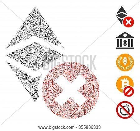Line Mosaic Based On Wrong Ethereum Classic Icon. Mosaic Vector Wrong Ethereum Classic Is Created Wi