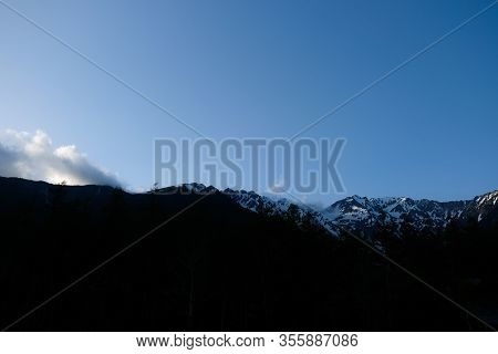 Sunset Light And Snow Mountains View From Kamikochi Bus Station, Japan