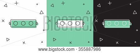 Set Silicone Ball Gag With A Leather Belt Icon Isolated On White And Green, Black Background. Fetish
